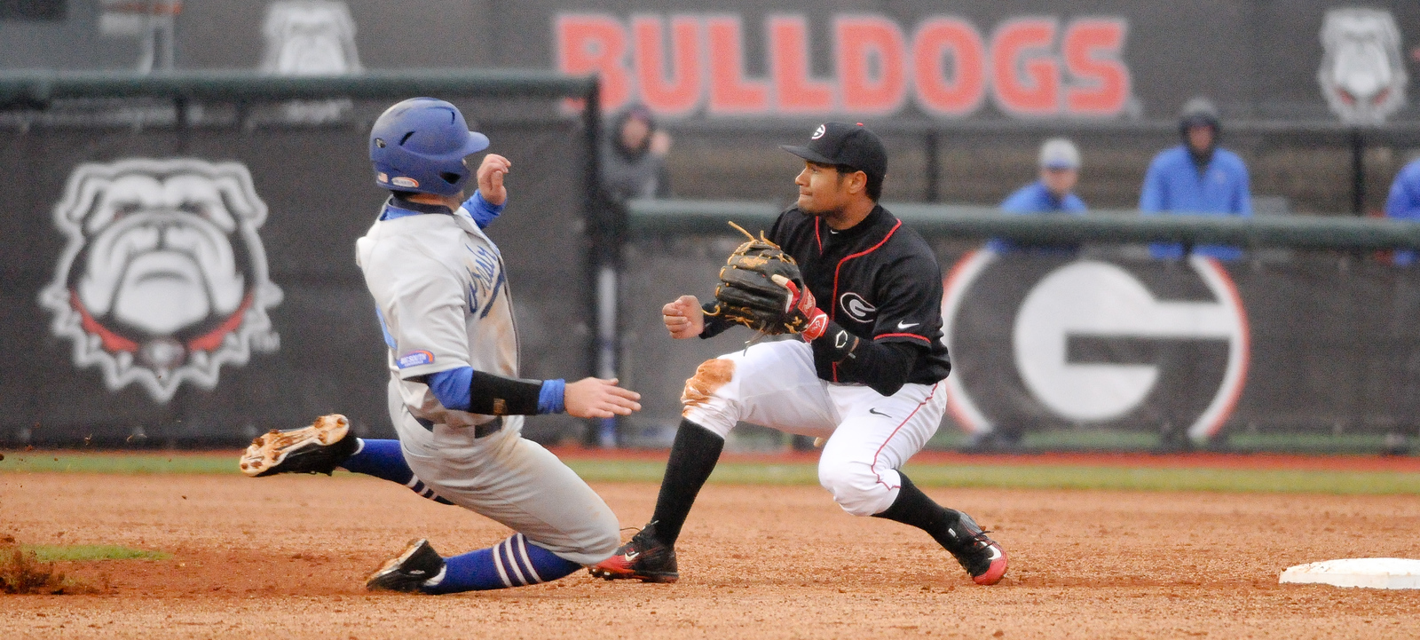 Georgia's Nick King (8) prepares to receive the ball at second base during a men's NCAA baseball game between the University of Georgia and Presbyterian College on Tuesday, February 24, 2015 in Athens, Ga. (Photo by Sean Taylor)