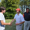 Two-time Masters champion Bubba Watson greets Bulldog sophomore Sam Straka during his visit to Athens, Ga., on Monday, April 21, 2014. (Photo by Steven Colquitt)
