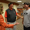 Two-time Masters champion Bubba Watson (right) and Coach Chris Haack (center) visit with UGA Provost Pamela S. Whitten during Watson's visit to Athens, Ga., on Monday, April 21, 2014. (Photo by Steven Colquitt)
