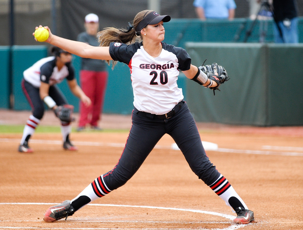 Georgia's Chelsea Wilkinson (20) pitches the ball during an NCAA softball game between the University of Georgia and the University of Arkansas on Friday, March 20, 2015 in Athens, Ga. (Photo by Sean Taylor)