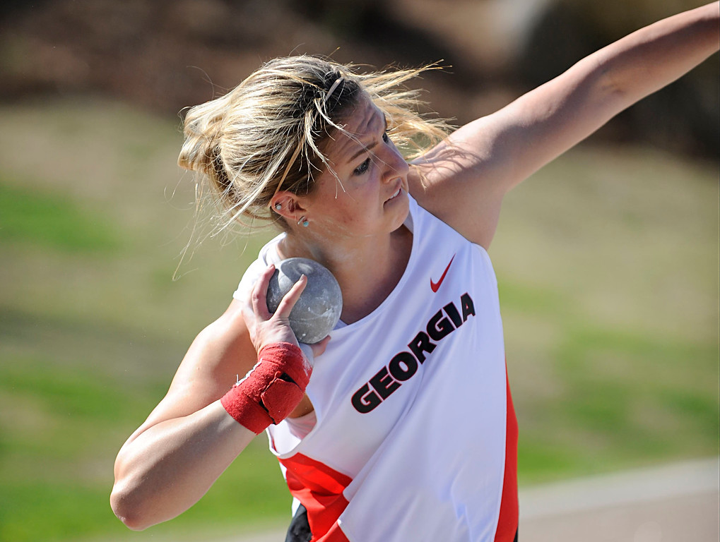 Anna Machovec in the shot putt event during the Georgia Relays at the Spec Towns Track Complex on Friday, March 20, 2015 in Athens, Ga. (Photo by John Kelley)