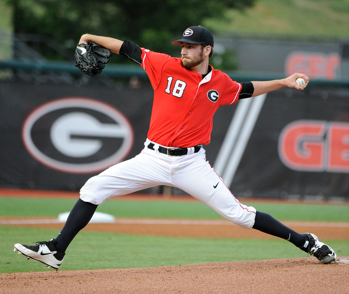 Former Georgia Bulldog pitcher (18) Ryan Lawlor - now with the Carolina Mudcats in the Advanced-A Carolina League ( Photo by John Kelley )