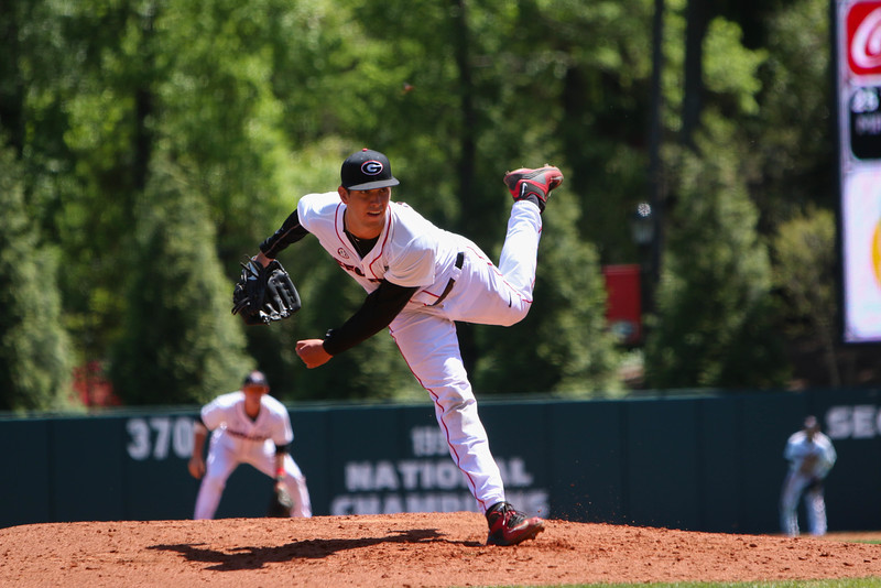 Georgia pitcher Bo Tucker (25) pitches during the NCAA baseball game between Georgia and South Carolina at Foley Field on Sunday, April 17, 2016 in Athens, Ga. (Photo by Emily Selby)
