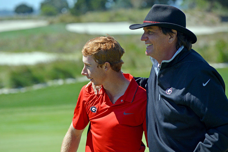 Lee McCoy (on left) and Head Coach Chris Haack (on right) Georgia Men's Golf Team (photo courtesy of UGA)