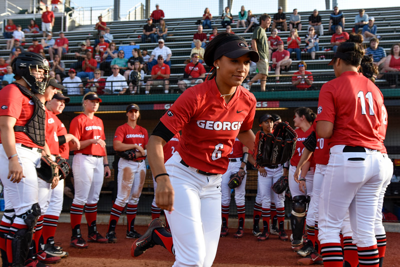 Members of the Georgia softball team are introduced to the crowd during an NCAA softball game (Photo by David Barnes)