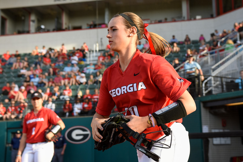 Chelsea Wilkinson (20), senior pitcher for UGA Softball team (Photo by David Barnes)
