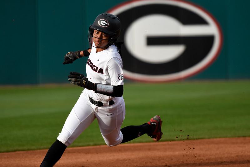 Georgia outfielder Cortni Emanuel (1) (Photo by David Barnes)