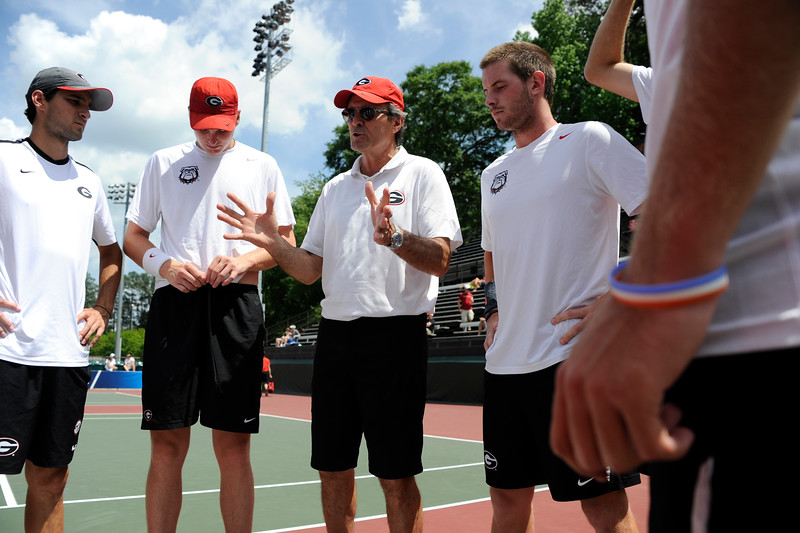 Coach Manuel Diaz before the NCAA second round match against Florida State at the Dan Magill Tennis Complex on Saturday, May 9, 2015 in Athens, Ga.