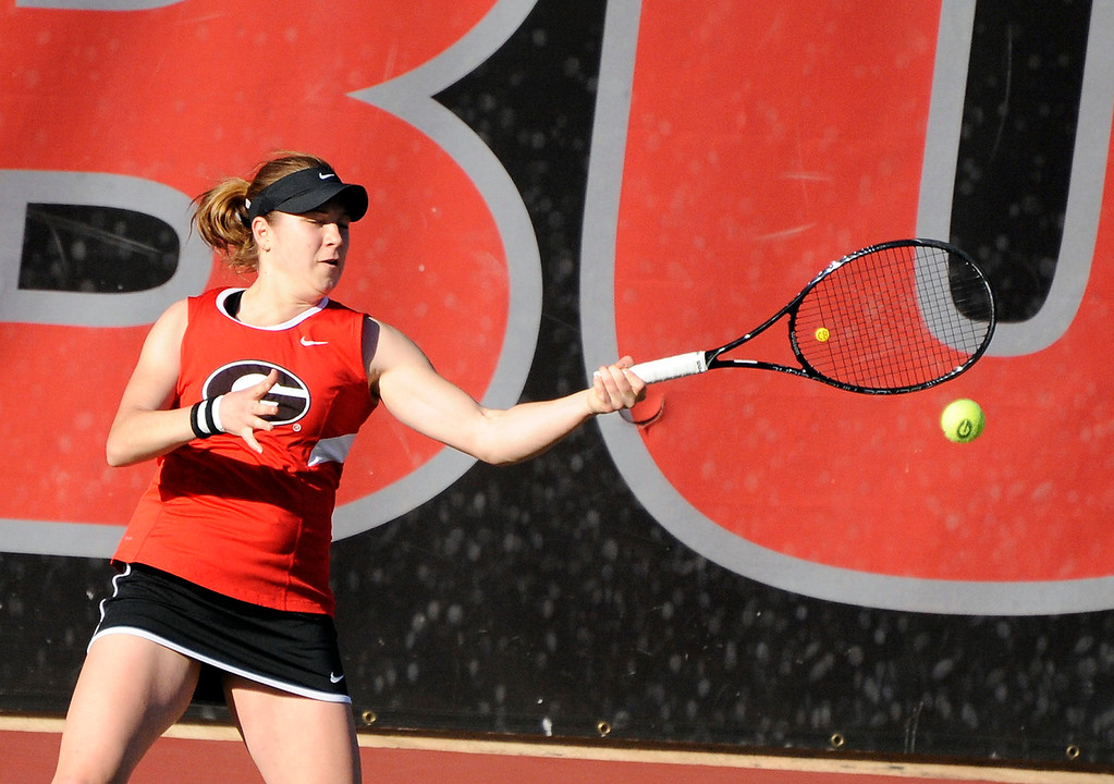 Ellen Perez in a singles match during a NCAA women's tennis match between the Georgia Lady Bulldogs and SEC opponent LSU Lady Tigers on Friday, February 27, 2015 in Athens, Ga. (Photo by John Kelley)