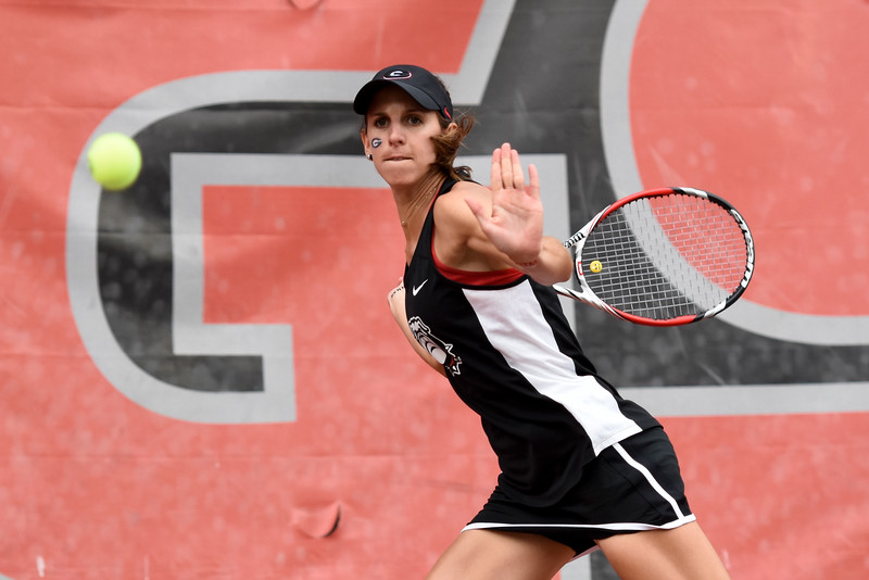 Georgia's Silvia Garcia hits the ball during a singles match of the NCAA match between Georgia and the University of Florida at the Dan Magill Tennis Complex on Friday, April 15, 2016, in Athens, Georgia. (Photo by David Barnes)