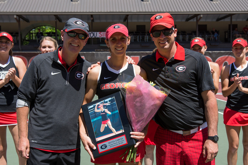 Georgia celebrates senior day by honoring Silvia Garcia before the start of the NCAA match between Georgia and the University of South Carolina at the Dan Magill Tennis Complex on Sunday, April 17, 2016, in Athens, Georgia. (Photo by David Barnes)